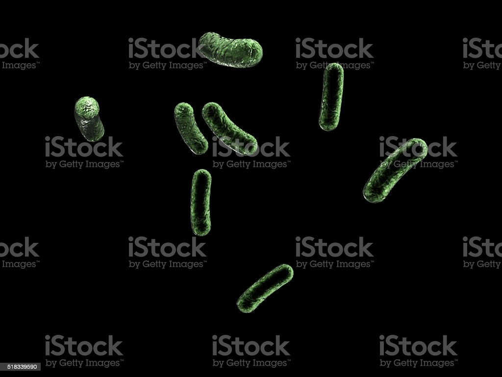 Eight Green Infected Cells are on Isolated Black Background stock photo