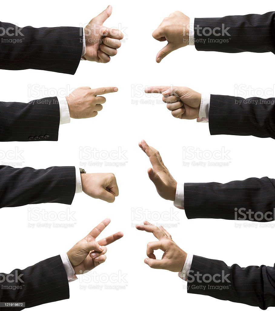 Eight hands showing various gestures and signs royalty-free stock photo