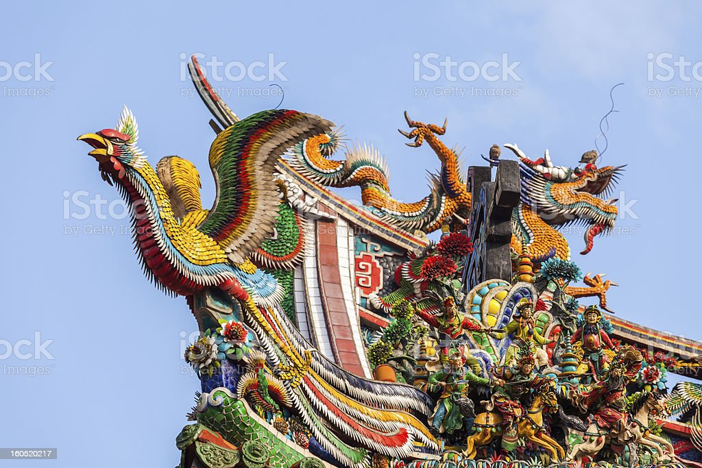 Eight Immortals  on the roof of Longshan Temple stock photo