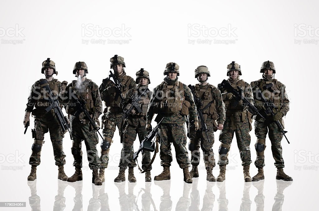 Eight isolated U.S. Marines. on the smooth floor stock photo