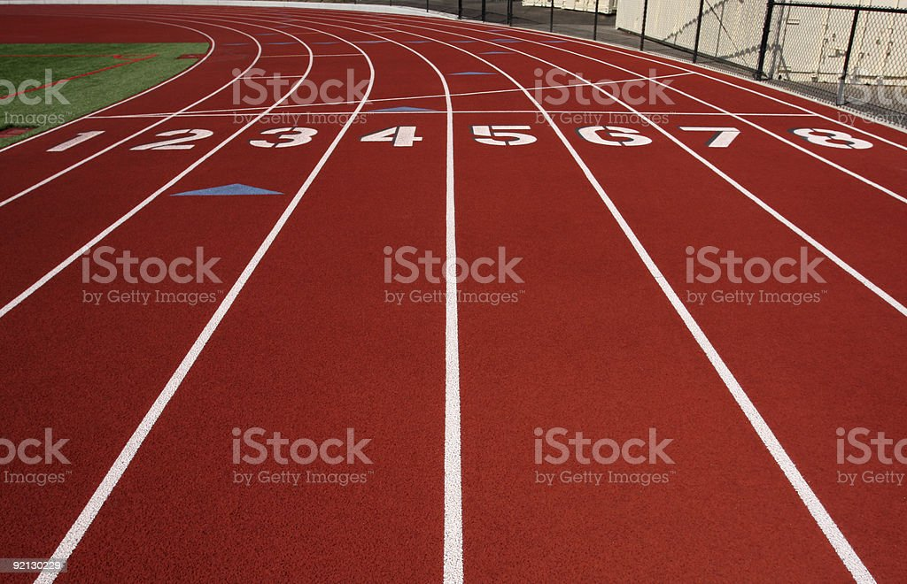 Eight Lanes of a Running Track stock photo