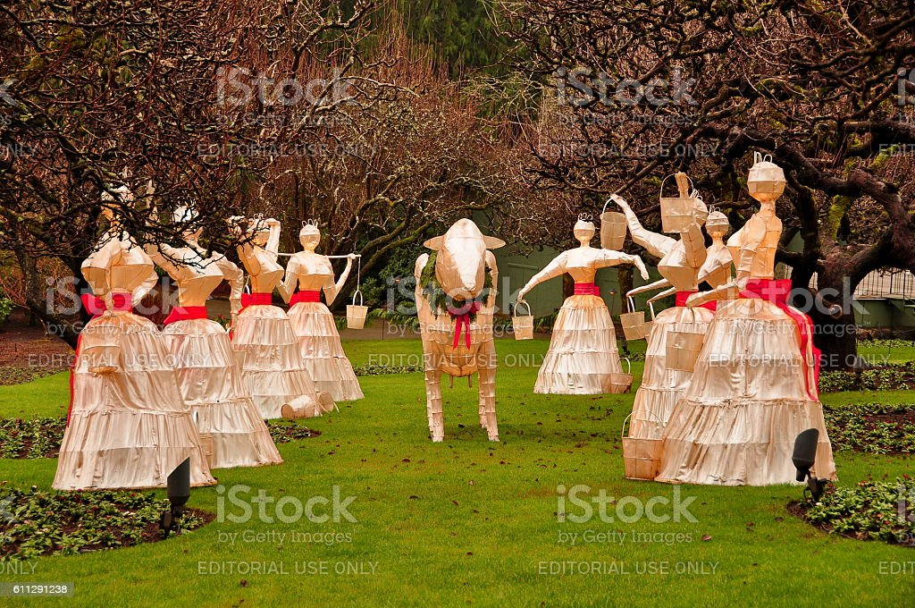 Eight maids a milking stock photo