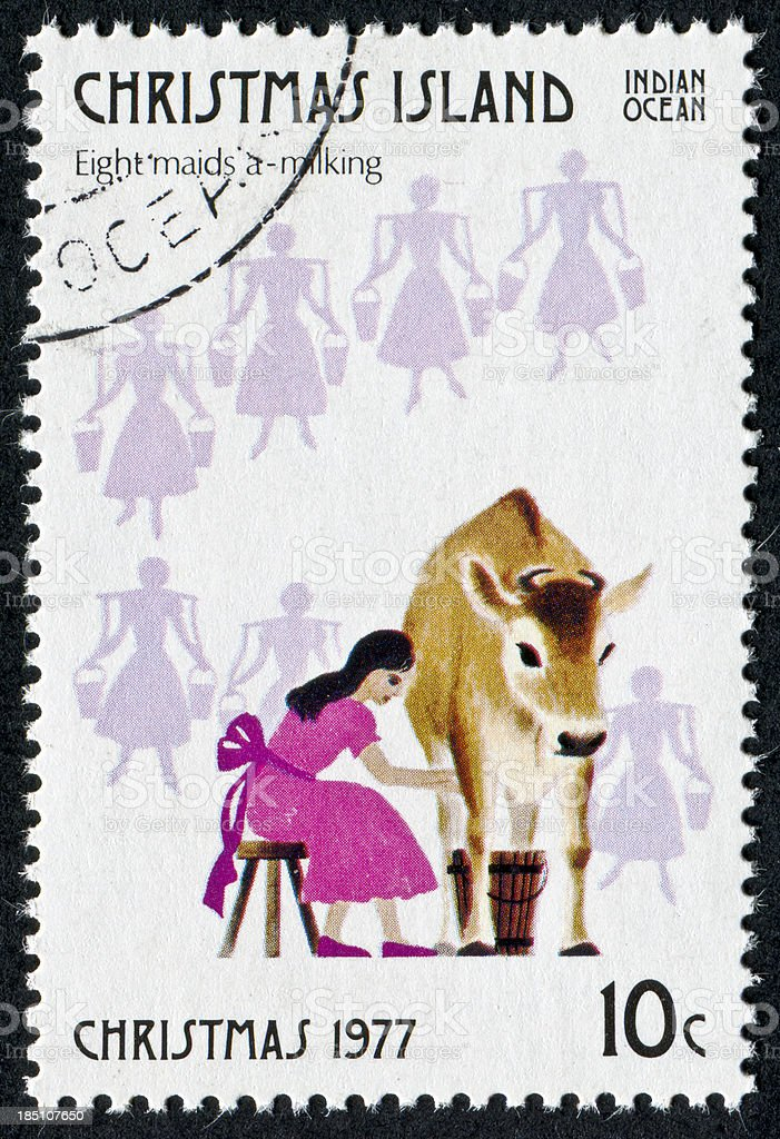 Eight Maids A Milking Stamp stock photo