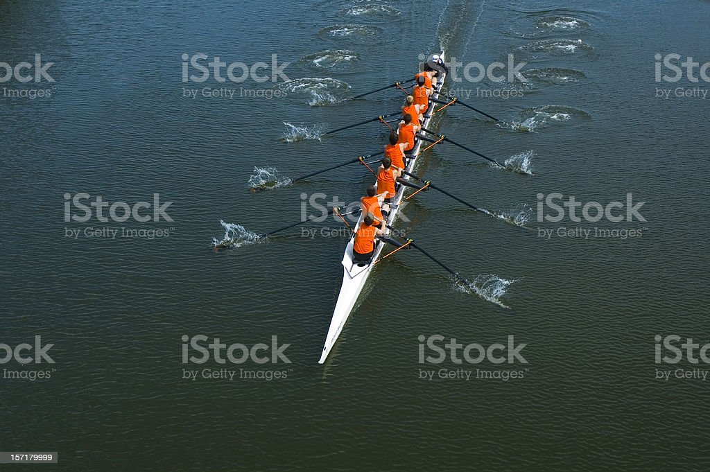 Eight Man Rowing Team - Teamwork royalty-free stock photo