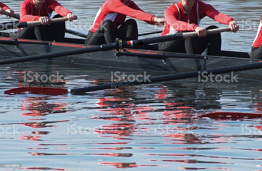 Eight oar sweep boat team readies for competition - reflection of...