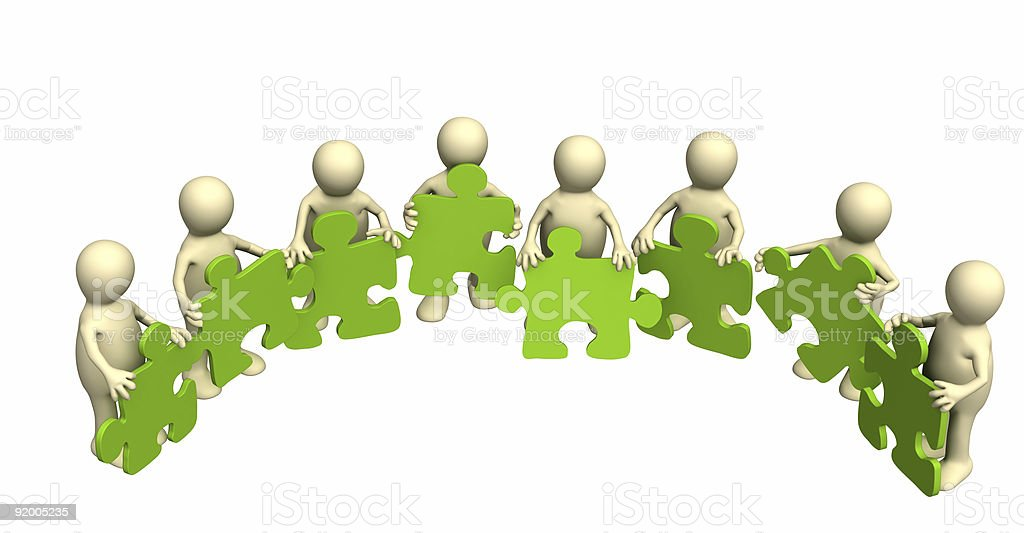 Eight puppets, holding in hands a puzzle of green color royalty-free stock photo