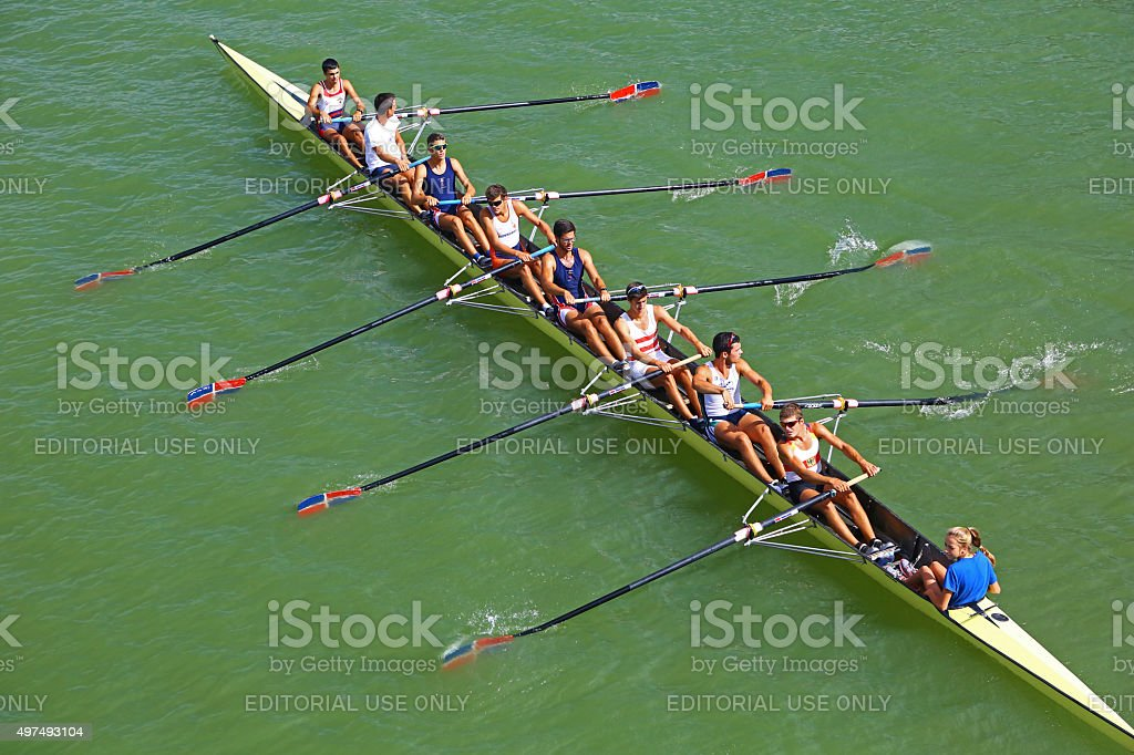 Eight rowing boat in Seville, Spain stock photo