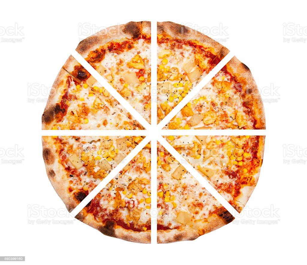 Eight slices of pizza isolated on the white background stock photo
