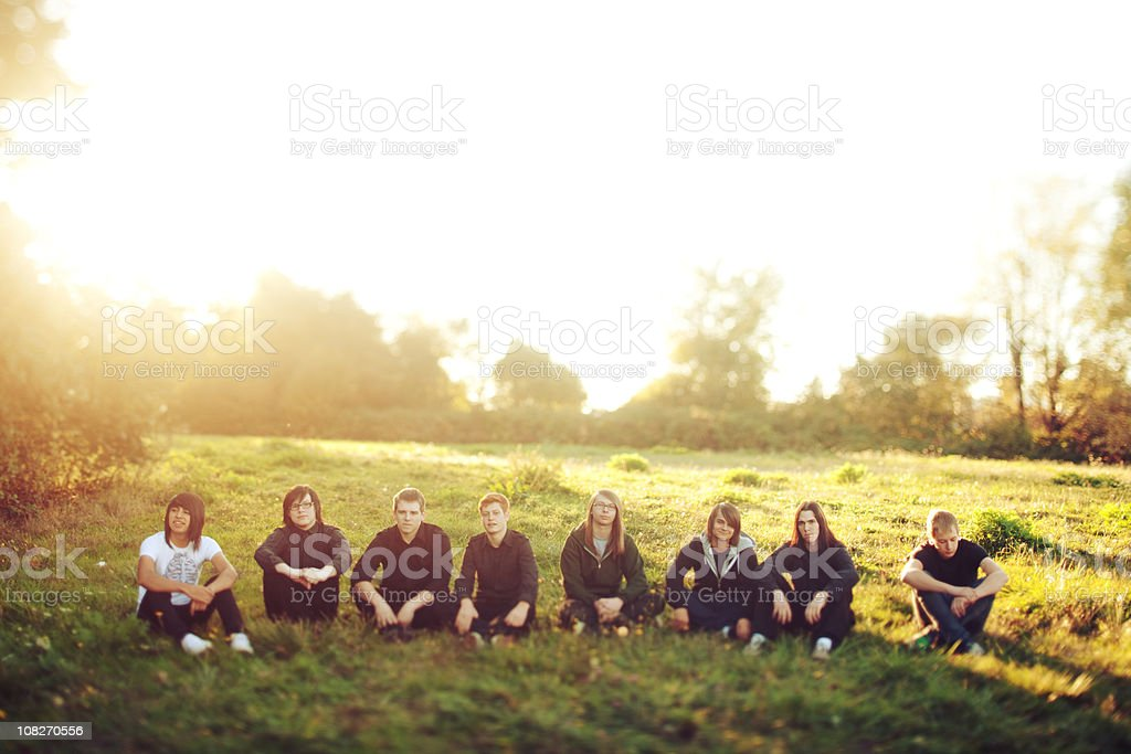 Eight Sun Flared Tilt Shifted Young Men royalty-free stock photo