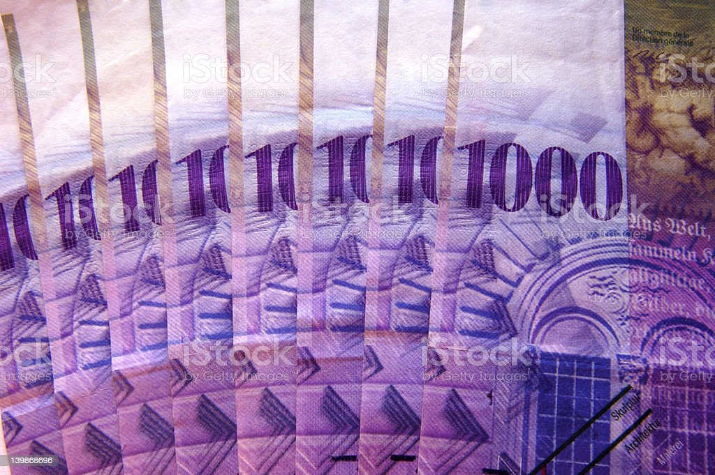 Eight thousand Swiss francs stock photo