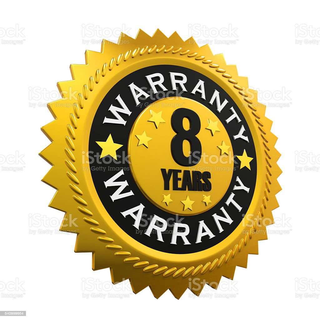 Eight Years Warranty Sign stock photo