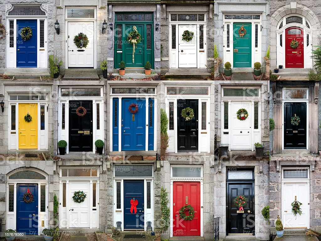 Eighteen doors with christmas wreaths from the granite city of...
