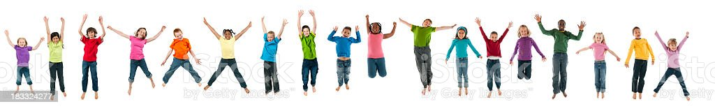 Eighteen Kids jumping stock photo