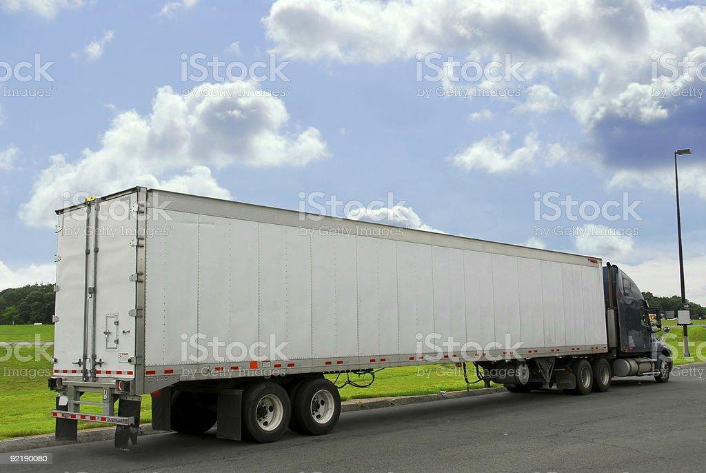 Eighteen wheeler truck stock photo
