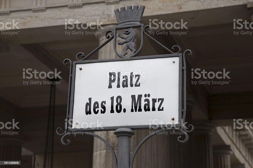 Eighteenth May Street Sign; Brandenburg Gate; Berlin royalty-free stock photo