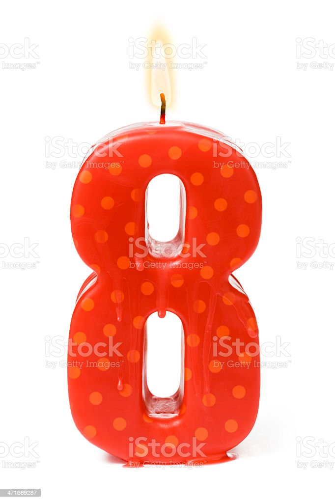 Eighth 8th birthday or anniversary candle royalty-free stock photo