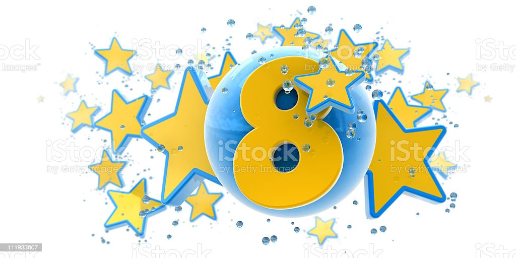Eighth anniversary blue and yellow royalty-free stock photo