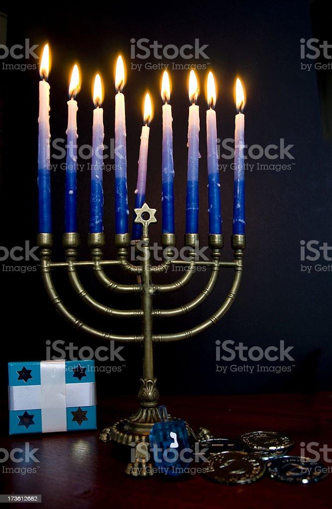 Eighth night of Hanukkah stock photo