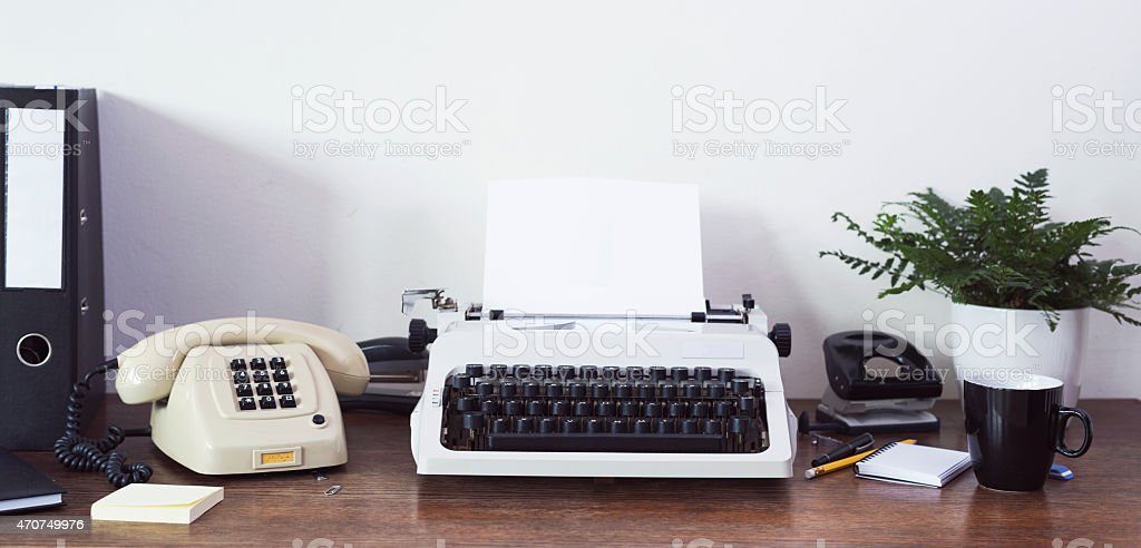 Eighties aesthetic stylized desk stock photo