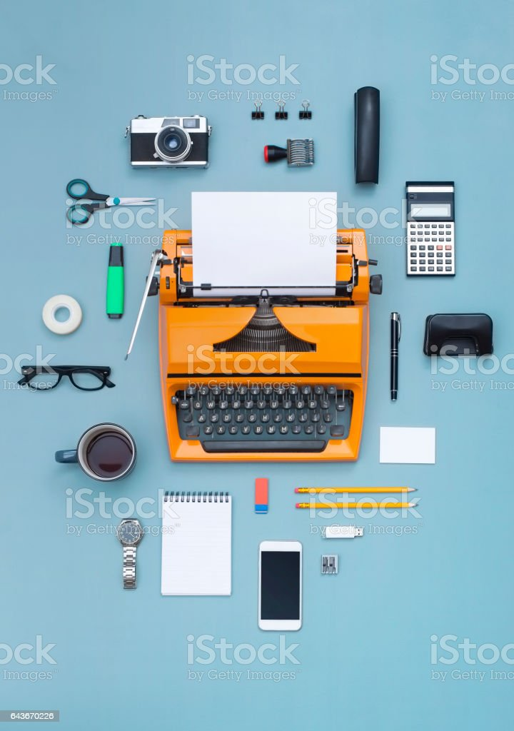 eighties typewriter office items stock photo