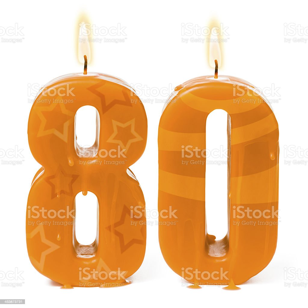 Eightieth 80th birthday or anniversary candles stock photo