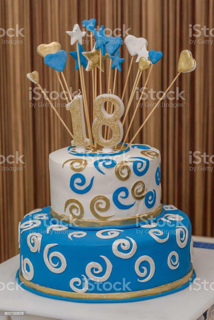 Eightteenth birthday cake stock photo