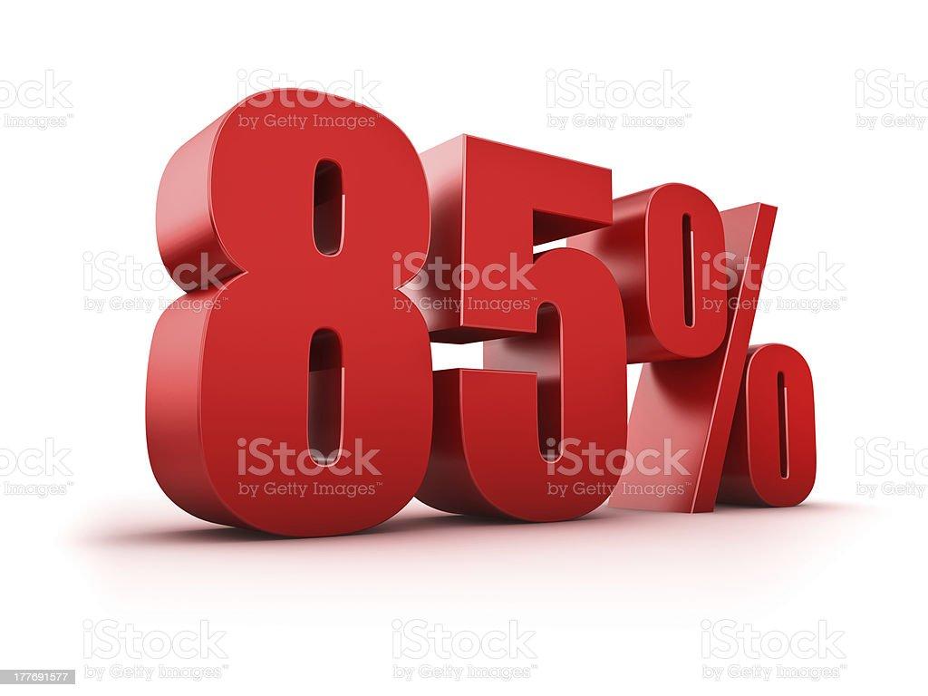 Eighty Five percent stock photo