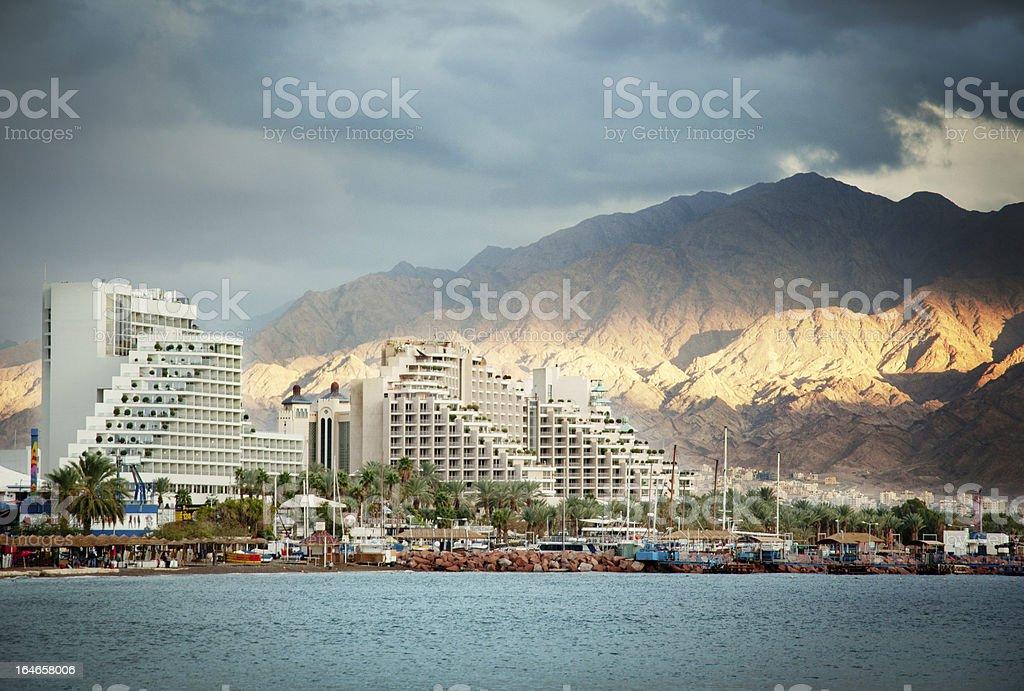 Eilat at sunset stock photo