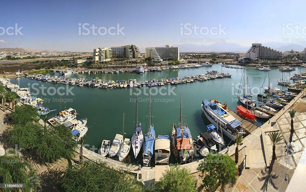 Eilat marina - panoramic image stock photo