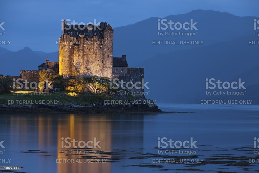 Eilean Donan Castle at Dusk, Scotland, United Kingdom stock photo