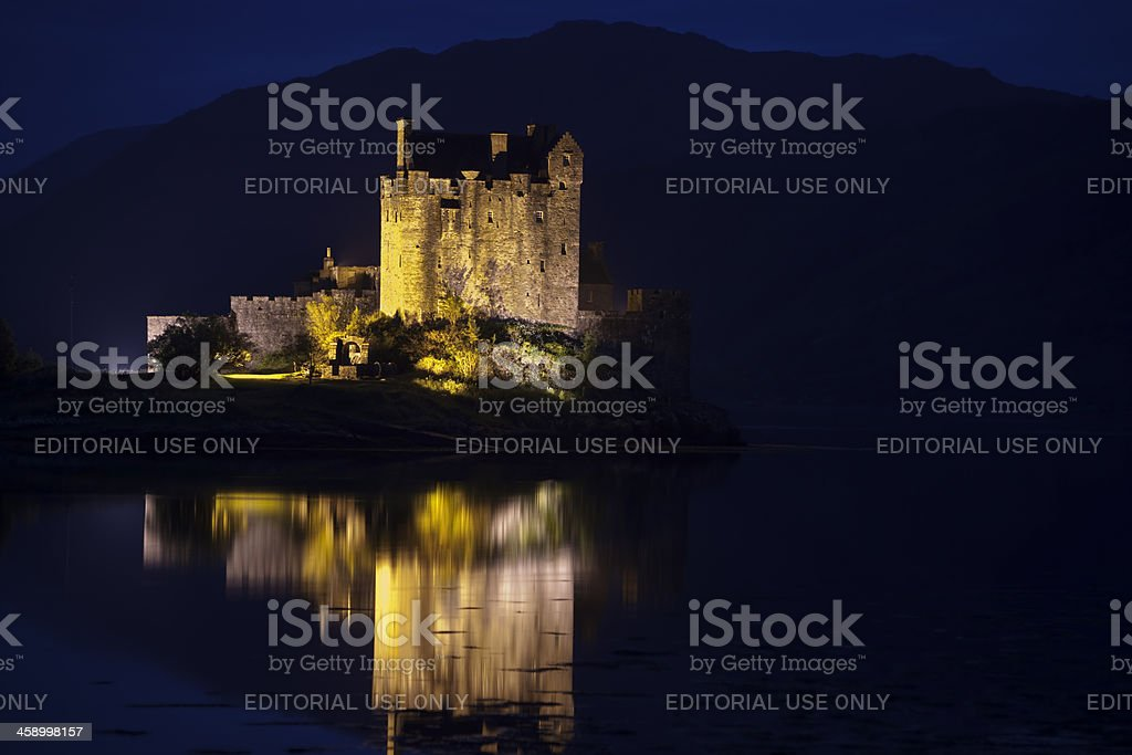 Eilean Donan Castle at Night, Scotland, United Kingdom stock photo