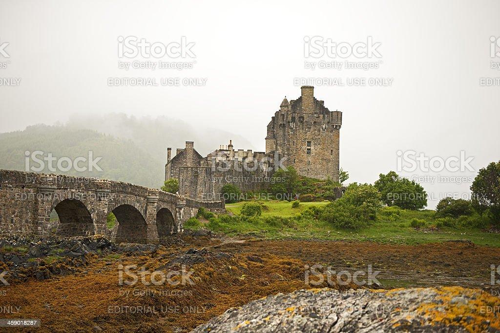 Eilean Donan Castle in the fog royalty-free stock photo