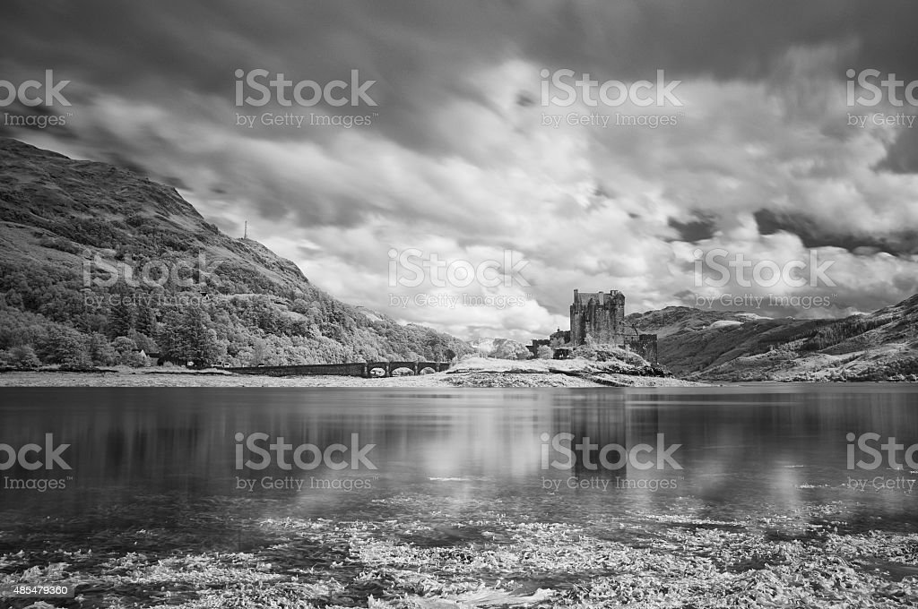 Eilean Donan In Black And White And White stock photo