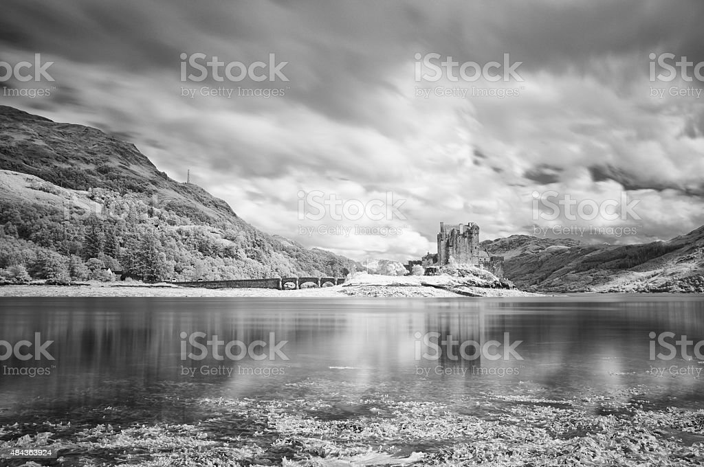Eilean Donan In Black And White stock photo