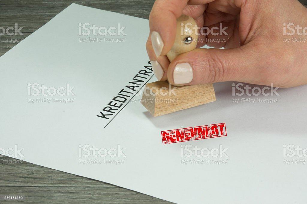 Ein Kreditantrag stock photo