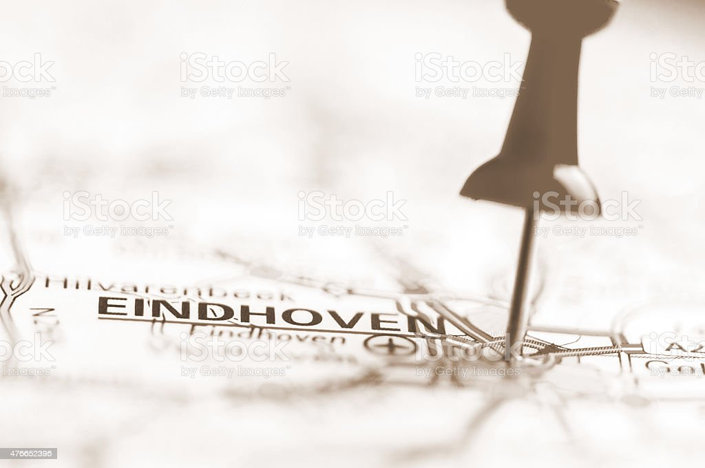 Eindhoven City On Map, Netherlands stock photo