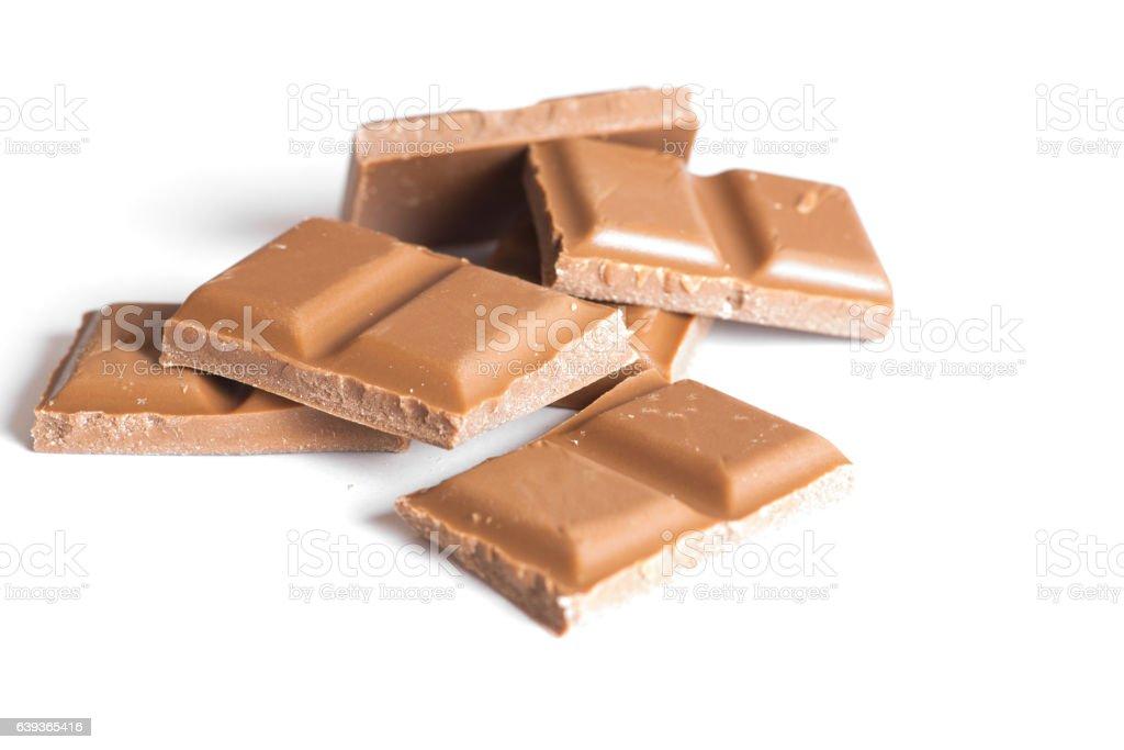 Eine geteilte Tafel Schokolade stock photo