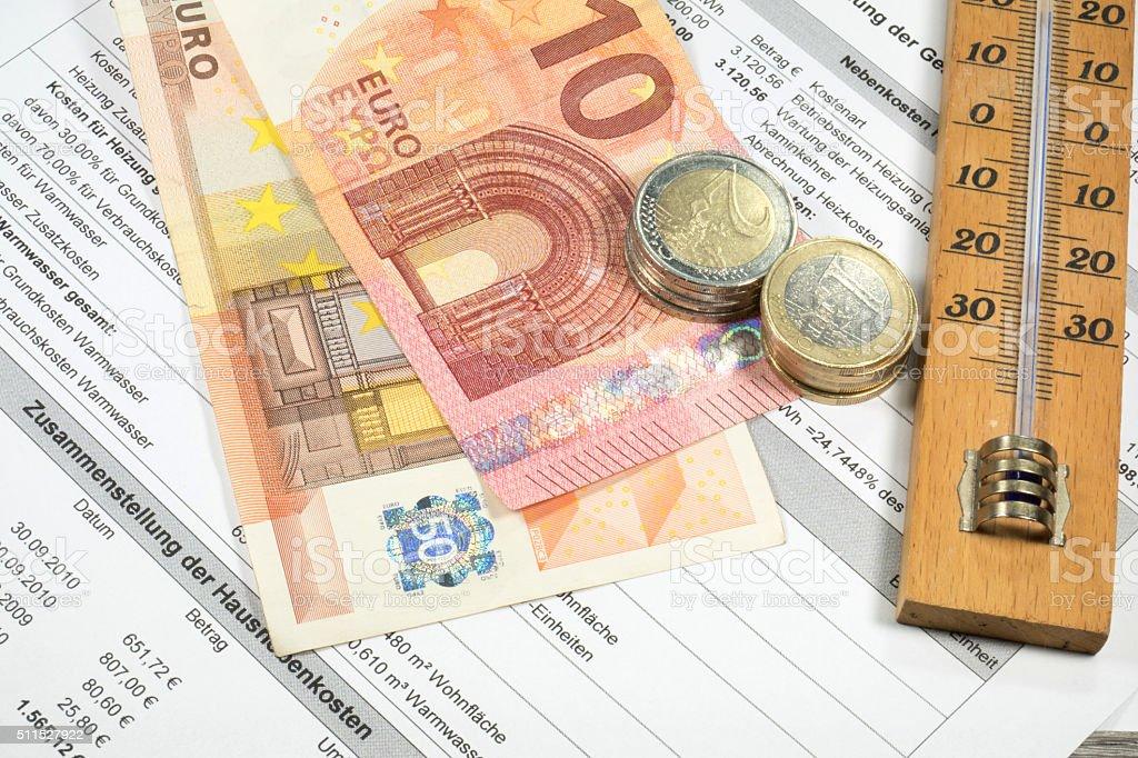 Eine Heizkostenabrechnung stock photo