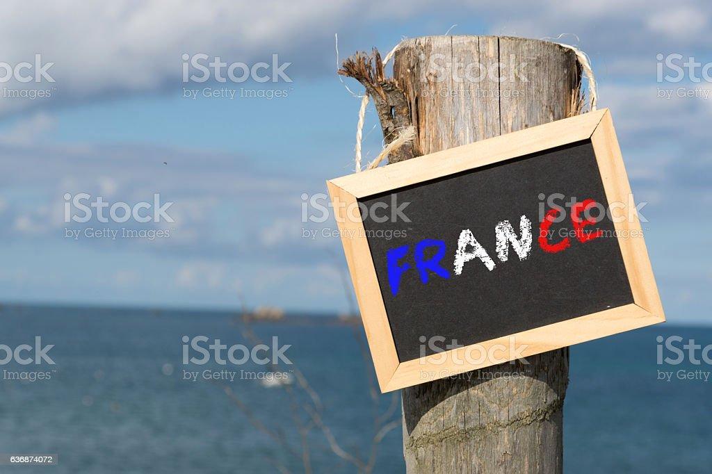 Eine Kreidetafel mit dem Wort Frankreich stock photo