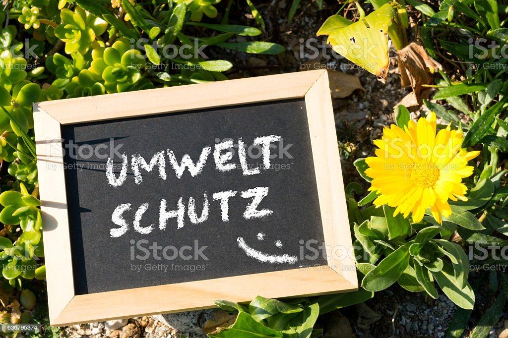 Eine Kreidetafel mit dem Wort Umweltschutz stock photo
