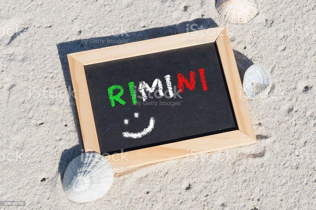 Eine Tafel mit dem Wort Rimini stock photo