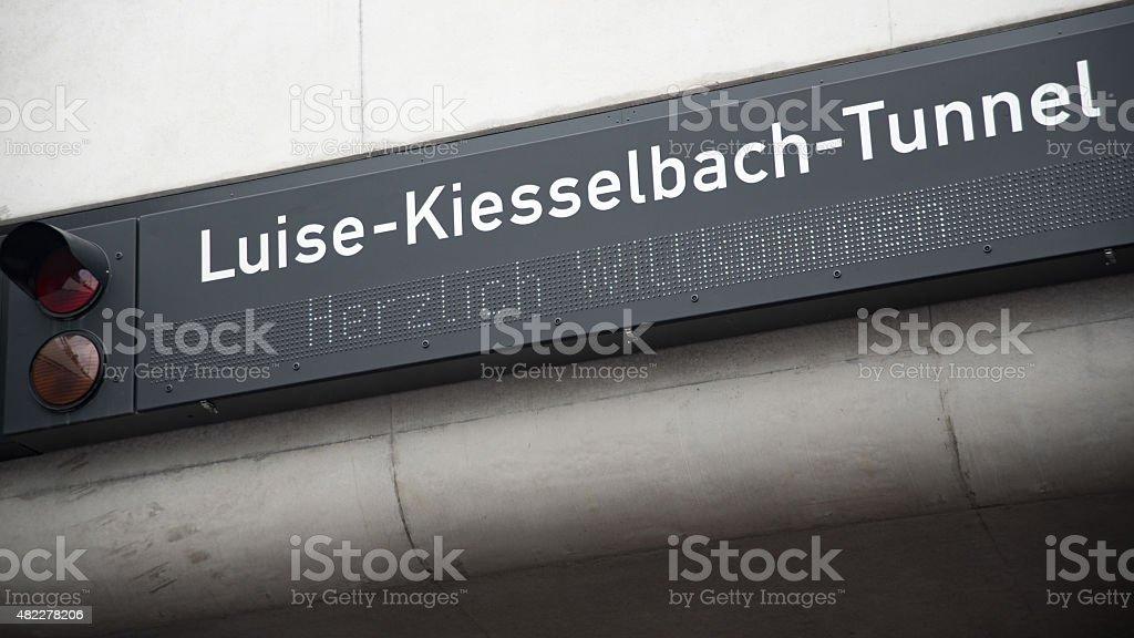 Einfahrtsschild des Luise-Kiesselbach-Tunnels in München stock photo