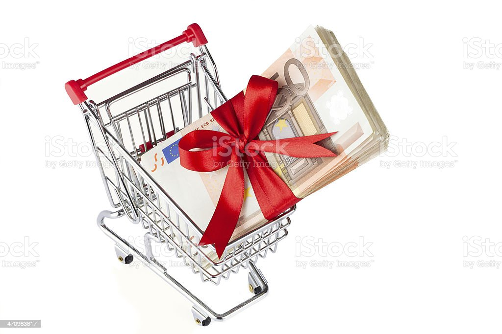 Einkaufswagen mit Banknoten stock photo