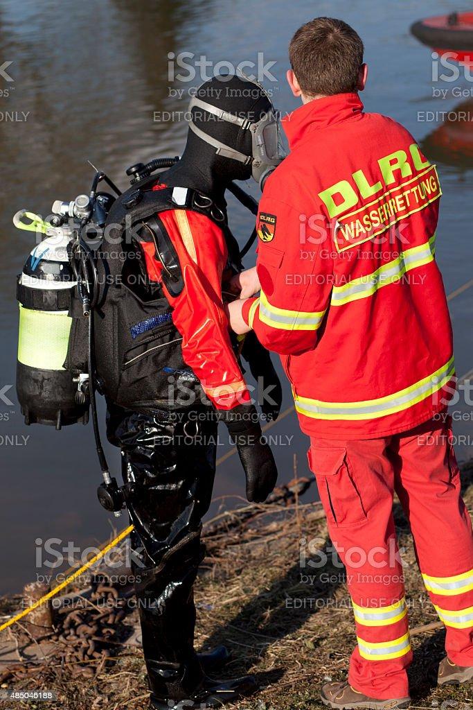 DLRG Einsatztaucher - Rescue diver stock photo