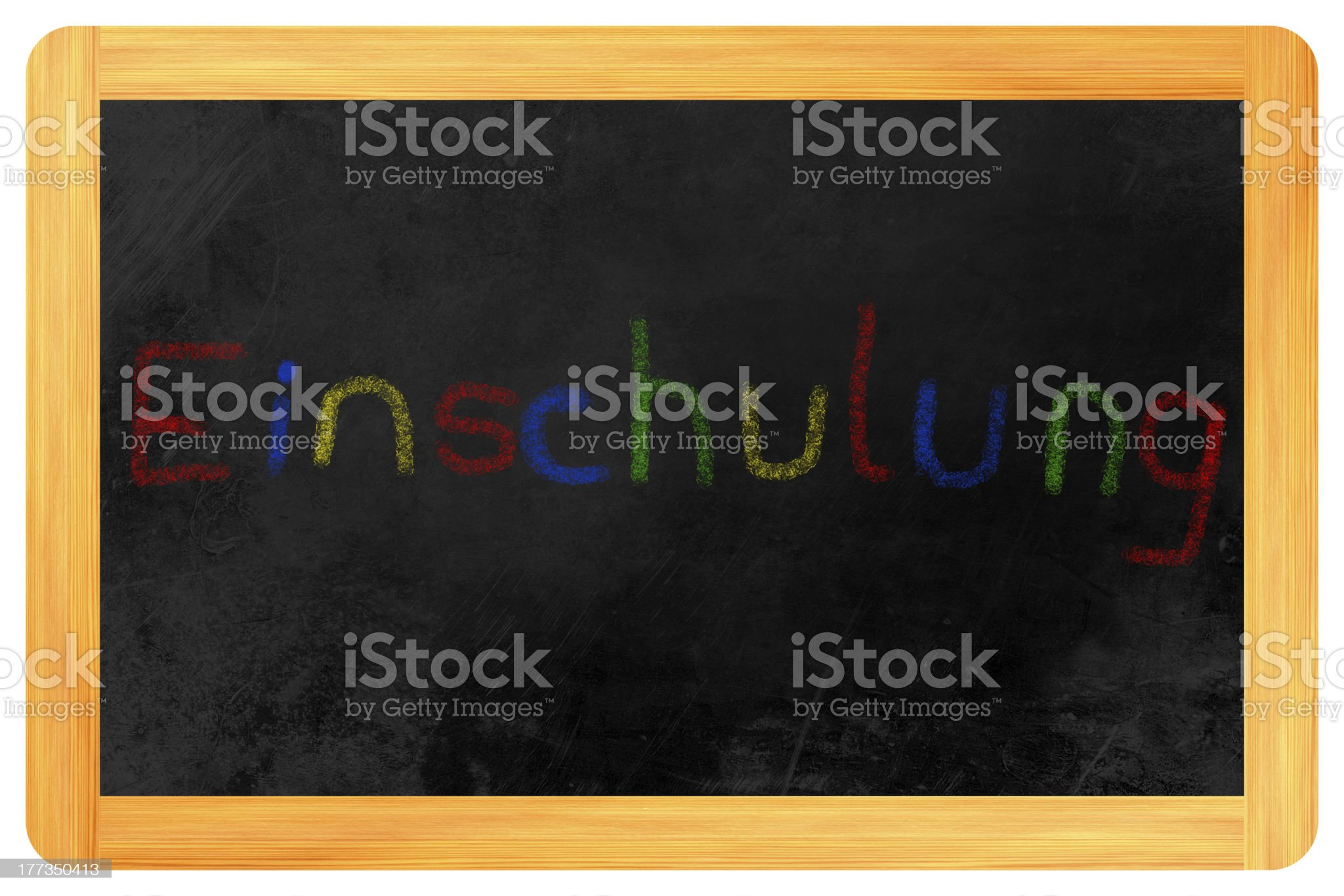 Einschulung colored chalk on Blackboard royalty-free stock photo
