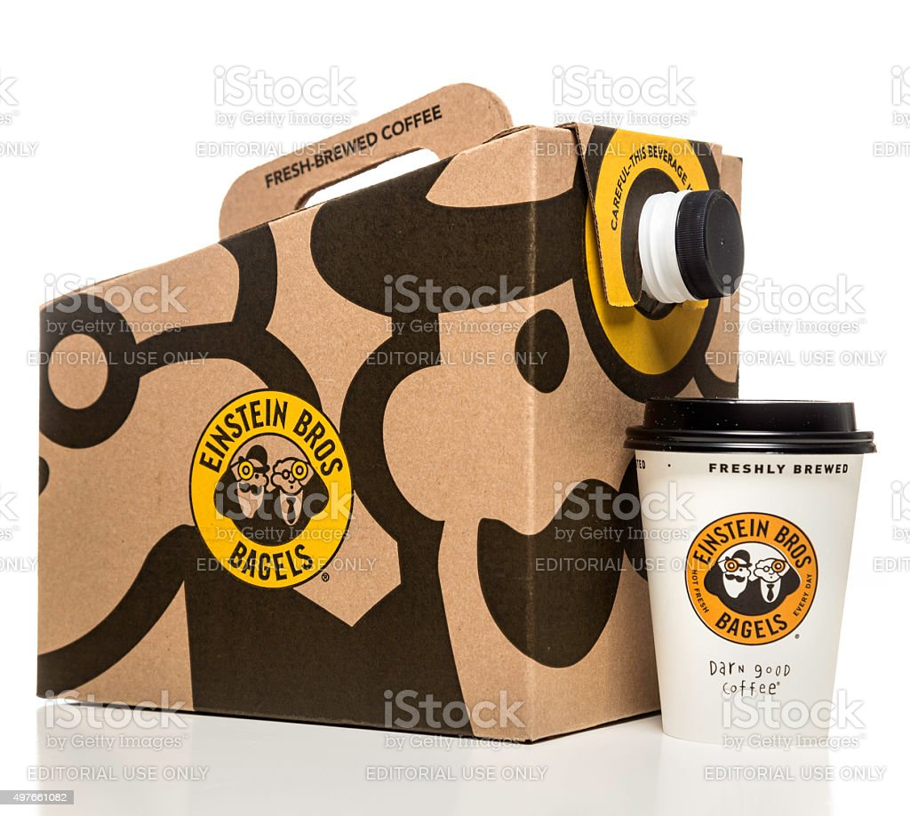 Einstein Bros bagels coffee box and paper cup stock photo