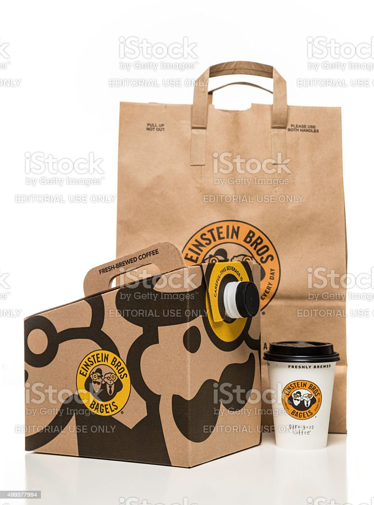 Einstein Bros bagels coffee box paper cup and bag stock photo