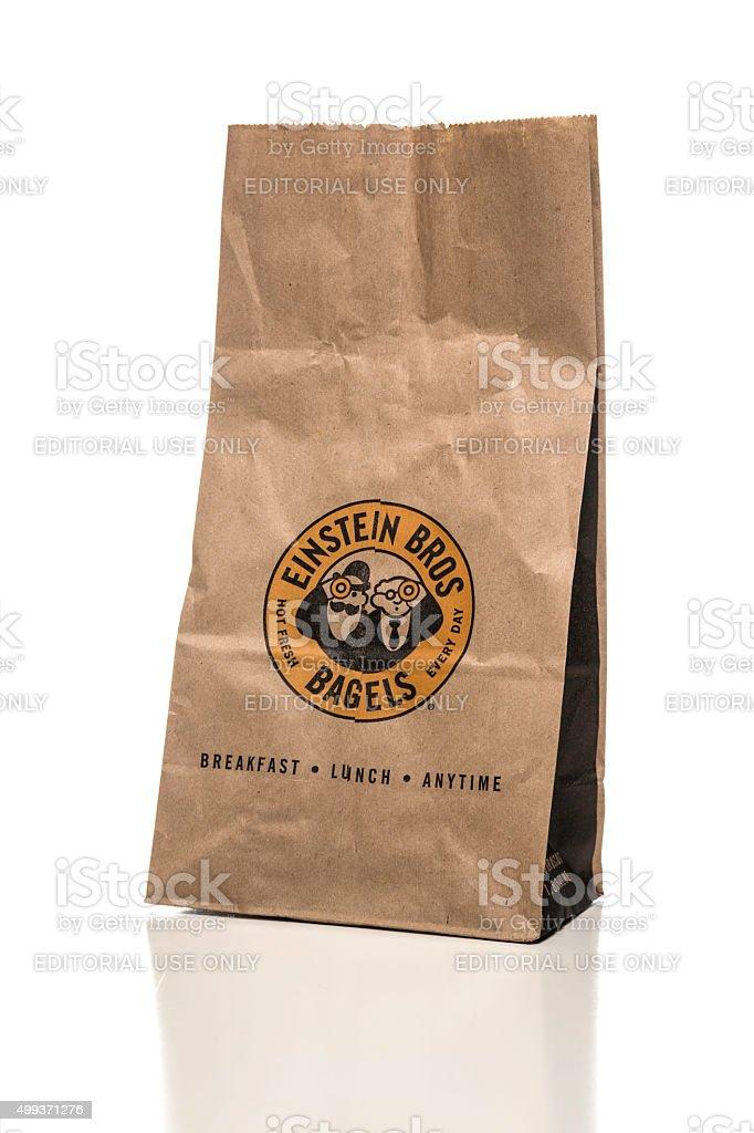 Einstein Bros bagels paper bag stock photo