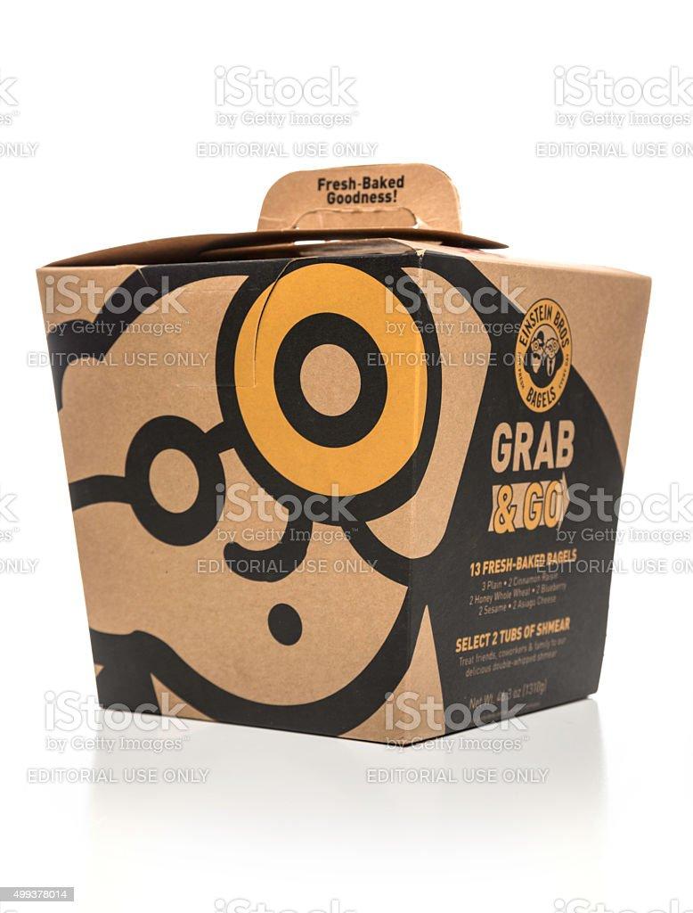 Einstein Bros Grab & Go bagels box stock photo