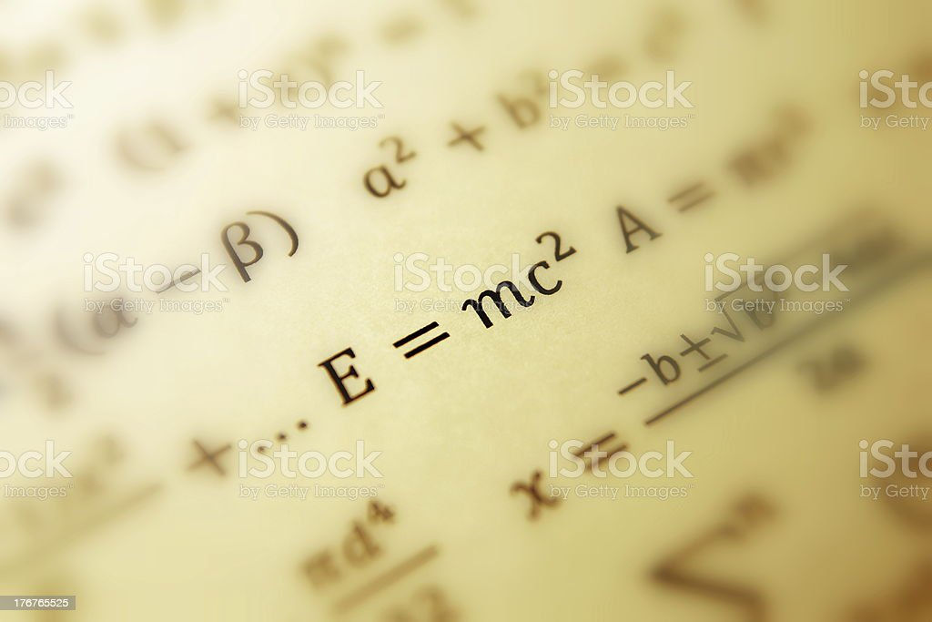 Einstein formula of relativity stock photo